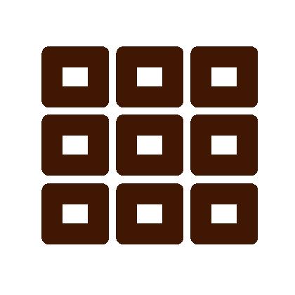 Neun braune Kästchen, die zu einem Block angeordnet sind.